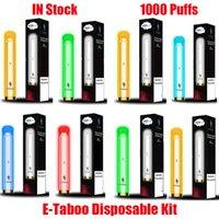 Original E-Taboo Disposable Device Kit E Cigarette 1000 Puffs 600mAh Battery 3.5ml Pods Prefilled Cartridge RGB Light Glowing Flash Vape Stick Pen 100% Authentic