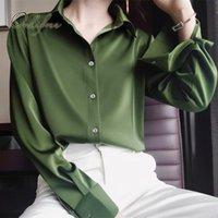 Frauen Blusen Hemden Ordifree 2021 Frühling Vintage Frauen Satin Hemd Bluse Langarm Green Rote Seide Büro Lady Tops