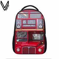 Mochila veevanv criativo designer 3d impressão mochilas para adolescentes bloco de construção de londres relógio vermelho ônibus vermelho dólar padrão impresso saco