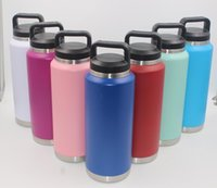 36oz Handle Water Bottle Stainless Steel Cup 10 Colors Double Wall Vacuum Beer Kettle Flasks Outdoor Camping Sport Bottles WLLY1120
