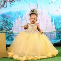 Gold Lace 2022 Flower Gir's Dresses Sheer Neck Pearls Custom Made Little Girl Wedding Communion Pageant Party Gowns