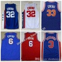 1992 Gute Qualität Sportwear Stickerei # 33 Patrick Ewing 6 Dr. julius ererving Trikots weiß blau # 3 Drazen Petrovic Sports Basketball-Shirts