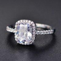925 الفضة الاسترليني مويسانيت معتمد من خاتم الزواج الماس للنساء الفاخرة الساحة الساحة الأحجار الكريمة الزركون الأزياء حلقات