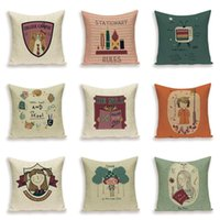Cushion Decorative Pillow Cartoon Girl Pillows Cover Portrait Book Cushion Covers Linen Case Letter Home Decoration Sofa Bed Cushions Cases