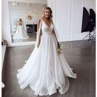 Eightale Plaj Gelinlik 2021 V Yaka Pleats Organze A-line Gelinlik Artı Boyutu Prenses Gelin Elbise Vestido de Noiva
