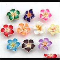 Керамическая, глина, фарфоровый драматериалыClorful Polymer Clay Plumeria цветок 15 мм 150 шт. / Лот Свободные бусы продают Ювелирные изделия DIY L3000 Drop Доставка 2021 1