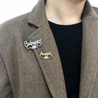 Personalizado Custom Pin Customized Name Iced Out Bijoux Broches Stainless Steel Jewelry Heart Brooches for Women Men Spilla H1018