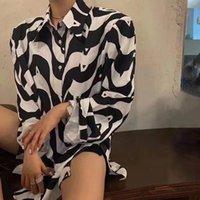 Kadın Bluzlar Gömlek 2021 Yüksek Kaliteli Avrupa İstasyonu Standart Siyah Ve Beyaz Sıralama Gömlek Tek Göğüslü Kravat Saten Gevşek Kadın