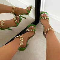 Dress Shoes 2021 Fashion Summer 35-41 Large Size Chain Women's European And American Word Square Toe Stiletto Sandals