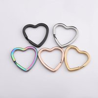 Rainbow Heart Gold Silver Color Keychains Metal Key Chain Ring Split Rings Unisex Keyring Keyfob holder Accessories DIY