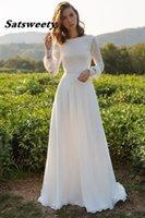 Chiffon Wedding Dress 2022 A Line Long Sleeves Arabic Bride Dresses Vestidos Boho Lace Bridal Gowns