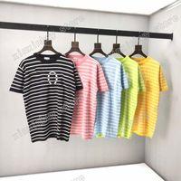 21 ss männer gedruckt t shirts designer stricken buchstabe seaman streifen kleidung kurze hülse herren hemd tag schwarz weiß