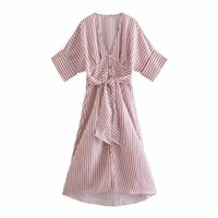 Party Dresses Women Pink Striped Printed Shirt Dress Chic V Neck Batwing Sleeve Midi Ladies Elegant A Line With Sashes