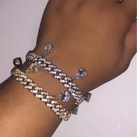 Link, Kette ausgereift Bling Frauen Mädchen Schmuck 10mm cz gepflastert Miami Kubaner Link Träne Tropfen Charme Armband