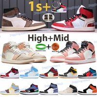 HIGH 1 Chaussures de basketball Travis Scotts 1s Hommes Sneakers Unc Powder Blue Chicago Blanc Milan Milan Pince Pink Quartz Laser Orange Black Sports Formateurs