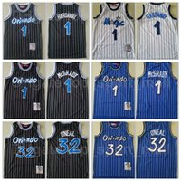 Mitchell et Ness Basketball Penny Backball Jersey Hommes Tracy McGrady 1 Shaquille Oneal 32 Vintage Blanc Blanc Blanc Team cousu de haute qualité