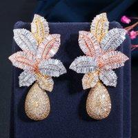 CWWZircons 3 Tone Gold Luxury Large Leaf Drop Flower Micro Cubic Zirconia Paved Naija Wedding Party Earring for Women CZ644 1744 Q2