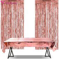 3pcs Metallic Foil Tinsel Curtain Tablecloth Birthday Wedding Bachelorette Party Decoration Anniversary Pography Backdrop
