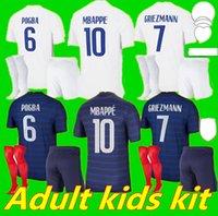 الرجال الاطفال كيت 2021 فرنسا mbappe grizmann pogba الفانيلة 20 21 كرة القدم جيرسي كانتي لكرة القدم قمصان thauvin مايوه دي القدم