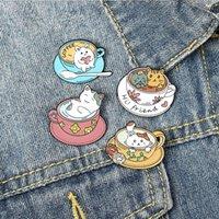 Dibujos animados gato taza de café broches conjunto 4pcs esmalte colorido pintura insignias para niños aleación solapa perno denim camisa de moda joyería regalo bolsa sombrero accesorios collarines