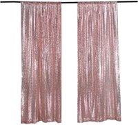 Décoration de fête LQIAO SEQUIN Rideau Panneaux de rideau de toile de fond de rose de rose 2x8ft 2