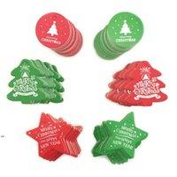 100 pcs Tag de Natal Papel Vermelho Green Presente Tag de Natal Pendurar Tags Preço Etiqueta Pendurar Tag Tag Mensagem Cartões DIY Presente DWE8327