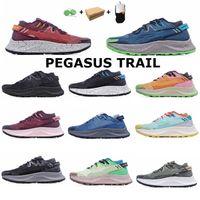 Pegasus Trail Trainers Koşu Ayakkabıları Erkekler Kadınlar Üçlü Siyah Beyaz Gökkuşağı Hiper Mavi Supernova Brushstroke Camo Lazer Duman Gri Volt Açık Spor Sneakers