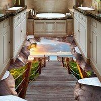 Wallpapers Custom 3D Crack Channel Landscape Living Room Bathroom Floor Wallpaper Decor Self-adhesive Waterproof Wall Mural
