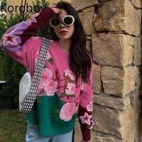 Korobov Korean Elegant Flower Embroidery Sweaters Pullovers Japanese Style Chic Kawaii Knit Sweater Vintage Harajuku Jumpers G1008