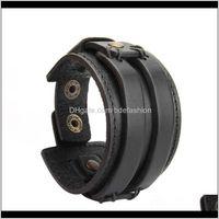 Charm Bracelets Jewelryvintage Leather Wristbands Bracelet Bangle Wrist Rope For Men (Black) Drop Delivery 2021 Iqoau