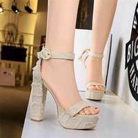 Sandalen PenSamilo Super High Heels Frauen Sandalen Mode Plattform Wedges Denim Tuch Gladiator Sommerschuhe Sandalias Mujer