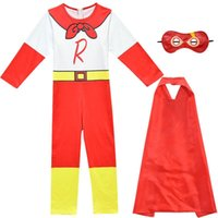 Clothing Sets 3pcs set Ryan Toys Review Boys Cosplay Jumpsuit Bodysuit Cloak Eye Mask Set Toddler World Children Costume Suit Clothes