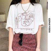 Genayooa الشارع الشهير مجردة القمصان الطباعة النساء قمم الصيف الأبيض القطن تي شيرت فام المتناثرة الملابس الكورية Y2K 210320
