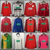 07 08 90 90 96 96 98 99 Retro Beckham Match finale Casa Casa Manchester Jerseys 1994 1998 United Ronaldo Cantona Keane Scholes Giggs Rooney Manica lunga Maglia