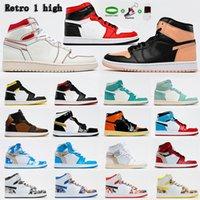 Air Jordan 1 4 x Off-White shoes Jordans  jumpman OG  Avec Box Hommes Femmes Femeless Moka Satin Digital Retro Shoes 1 1S Mens Homme Jumpman Homme Basketball Sneakers