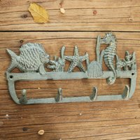 2 piezas Playa de mar estilo estante de hierro fundido montaje de pared soporte de llave gancho percha caballo estrella de mar pescado conchas vintage decoración marina