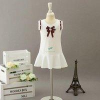 Diseñador niños con cuentas con rebordeado vestido plisado 2021 niñas de verano perla raya cinta arco chaleco vestido preppy estilo niños romano algodón ropa A6237