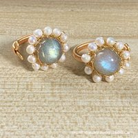 Rings 14K gold wrapped wire mesh bag Handmade Natural elongated stone Moonstone Ring ornament