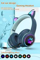 AKZ-022 Наушники для сотовых телефонов Складная на-уха Стерео-беспроводная гарнитура с микрофоном Светодиодный свет и регулятор громкости.