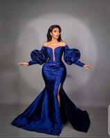 Elegant Blue Mermaid Dresses Sequins Split Off Shoulder Long Sleeves Evening Dress Custom Made Floor Length Party Gown