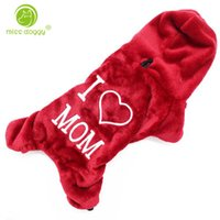 Dog Apparel Clothes Flannel Hooded Jumpsuits & Rompers I LOVE MOM Words Costumes Warm Soft Autumn Winter Pets Dogs Supplies 10E