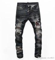 2021 Mens Designer Jeans Distressed Ripped Biker Slim Fit Motorcycle Biker Denim For Men s Fashion Mans Black Pants 20ss pour hommes sd2
