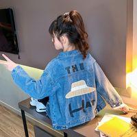 Jackets Fashion Baby Girls Blue Tooling Denim Jacket For Children Autumn Clothes 2021 Boys Cartoon Print Coat Outwear