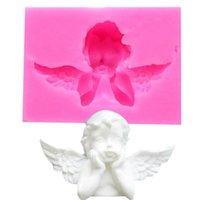 3D 천사 아기 실리콘 금형 컵 케이크 토퍼 퐁당 금형 아기 생일 케이크 장식 도구 캔디 클레이 초콜릿 gumpaste 금형