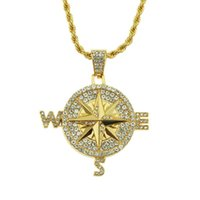 Pendant Necklaces Hip Hop Rhinestones Paved Bling Iced Out Compass Round Pendants Necklace For Men Rapper Jewelry Gold Silver Color Drop