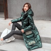 Winter Extra Long Section Glossy Down Cotton women Coat Parka Mujer Loose Black Cotton Jacket Lady Overcoat