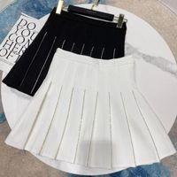 Skirts Fashion Vertical Stripe Rhinestone Skirt Women High Waist Pleated Elegant Ladies Short S674