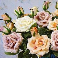 Fiori decorativi Corone Ins Ins Alta Qualità Realistico Diario Domestica Della Casa El Fiore Artificiale Bouquet Rosa Posizionamento di nozze 205 V2 0Pap