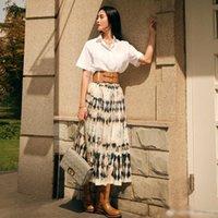 Runway Women'S 2021 Spring Summer White Shirt Tops And Midi Print Half Skirt Fashion Ladies Two Piece Set Tracksuits