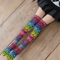 Socks & Hosiery 3D Pink Leopard Sexy Women Long Fashion Compression Thin Over The Knee Girls Soft Nylon Thigh High Sokken For Female
